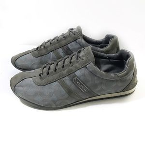 Coach 8.5 Gray Blue Sneakers Logo Kathleen